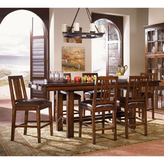 Buy A-America Furniture Mesa Rustica 7 Piece 72x40 Gathering Table Set w/ Slatback Chairs in Aged Mahogany on sale online