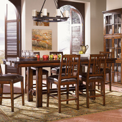 Buy A-America Furniture Mesa Rustica 72x40 Extension Trestle Gathering Height Table in Aged Mahogany on sale online