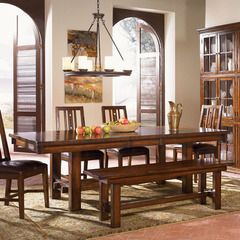 Buy A-America Furniture Mesa Rustica 76x44 Extension Trestle Dining Table in Aged Mahogany on sale online
