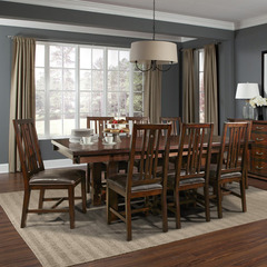 Buy A-America Furniture Mesa Rustica 9 Piece 76x44 Dining Room Set w/ Slatback Chairs in Aged Mahogany on sale online