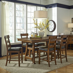 Buy A-America Furniture Ozark 7 Piece 66x40 Butterfly Leaf Gathering Table Set in Warm Pecan on sale online