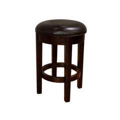 Buy A-America Furniture Parson Upholstered Swivel Counter Stool in Brown Bonded Leather & Espresso on sale online