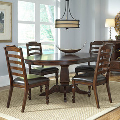 Buy A-America Furniture Phinney Ridge 5 Piece 46x46 Dining Room Set w/ Ladderback Chairs in Mink on sale online