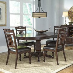 Buy A-America Furniture Phinney Ridge 5 Piece 46x46 Dining Room Set w/ Slatback Chairs in Mink on sale online