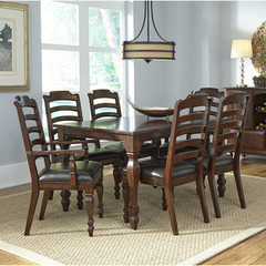 Buy A-America Furniture Phinney Ridge 7 Piece 54x38 Dining Room Set w/ Ladderback Chairs in Mink on sale online