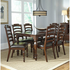 Buy A-America Furniture Phinney Ridge 7 Piece 54x38 Dining Room Set w/ Ladderback Side Chairs in Mink on sale online