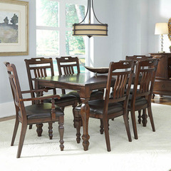 Buy A-America Furniture Phinney Ridge 7 Piece 54x38 Dining Room Set w/ Slatback Chairs in Mink on sale online