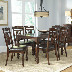 Buy A-America Furniture Phinney Ridge 7 Piece 54x38 Dining Room Set w/ Slatback Side Chairs in Mink on sale online