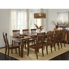 Buy A-America Furniture Toluca 11 Piece 60x38 Dining Room Set w/ Slatback Chairs in Rustic Amber on sale online
