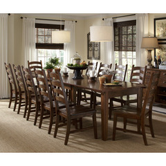 Buy A-America Furniture Toluca 13 Piece 60x38 Dining Room Set w/ Ladderback Chairs in Rustic Amber on sale online