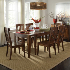 Buy A-America Furniture Toluca 7 Piece 60x38 Dining Room Set w/ Slatback Chairs in Rustic Amber on sale online