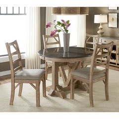 Buy A-America Furniture West Valley 5 Piece 44x44 Bluestone Dining Room Set in Rustic Wheat on sale online