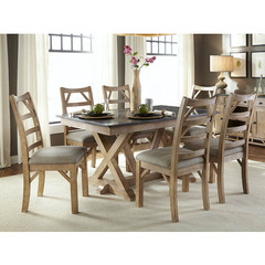 Buy A-America Furniture West Valley 7 Piece 60x38 Bluestone Dining Room Set in Rustic Wheat on sale online