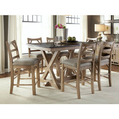 Buy A-America Furniture West Valley 7 Piece 60x38 Bluestone Gathering Table Set in Rustic Wheat on sale online