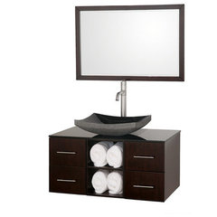 Buy Wyndham Collection Abba 36 Inch Smoke Glass Top Single Sink Vanity Set on sale online