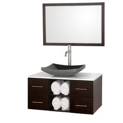 Buy Wyndham Collection Abba 36 Inch White Glass Top Single Sink Vanity Set on sale online