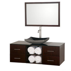 Buy Wyndham Collection Abba 48 Inch Smoke Glass Top Single Sink Vanity Set on sale online