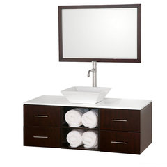 Buy Wyndham Collection Abba 48 Inch White Glass Top Single Sink Vanity Set on sale online