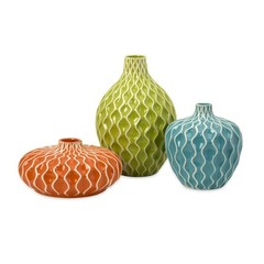 Buy IMAX Worldwide Agatha Ceramic Vases (Set of 3) on sale online
