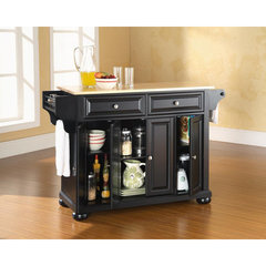 Buy Crosley Furniture Alexandria Natural Wood Top Kitchen Island in Black on sale online