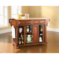Buy Crosley Furniture Alexandria 52x18 Natural Wood Top Kitchen Island in Classic Cherry on sale online