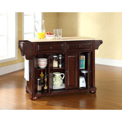 Buy Crosley Furniture Alexandria Natural Wood Top Kitchen Island in Vintage Mahogany on sale online