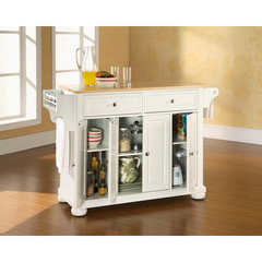 Buy Crosley Furniture Alexandria Natural Wood Top Kitchen Island in White on sale online