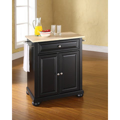 Buy Crosley Furniture Alexandria Natural Wood Top Portable Kitchen Island in Black on sale online