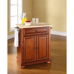 Buy Crosley Furniture Alexandria 28x18 Natural Wood Top Portable Kitchen Island in Classic Cherry on sale online