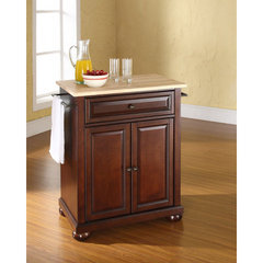 Buy Crosley Furniture Alexandria 28x18 Natural Wood Top Portable Kitchen Island in Vintage Mahogany on sale online