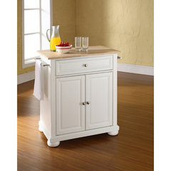 Buy Crosley Furniture Alexandria 28x18 Natural Wood Top Portable Kitchen Island in White on sale online