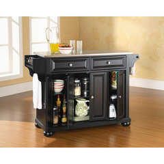 Buy Crosley Furniture Alexandria 52x18 Stainless Steel Top Kitchen Island in Black on sale online