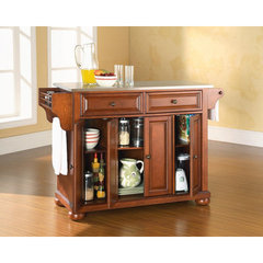 Buy Crosley Furniture Alexandria 52x18 Stainless Steel Top Kitchen Island in Classic Cherry on sale online