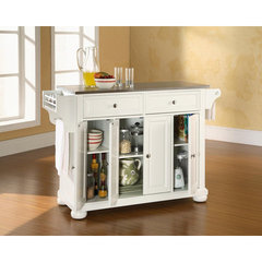 Buy Crosley Furniture Alexandria 52x18 Stainless Steel Top Kitchen Island in White on sale online