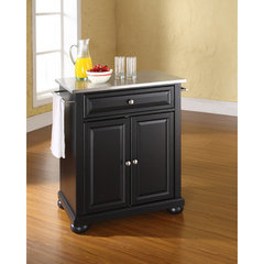 Buy Crosley Furniture Alexandria Stainless Steel Top Portable Kitchen Island in Black on sale online