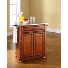 Buy Crosley Furniture Alexandria 28x18 Stainless Steel Top Portable Kitchen Island in Classic Cherry on sale online