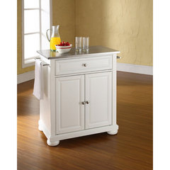 Buy Crosley Furniture Alexandria 28x18 Stainless Steel Top Portable Kitchen Island in White on sale online