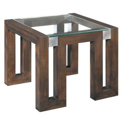 Buy Allan Copley Designs Calligraphy 28 Inch Square Glass Top End Table in Espresso w/ Brushed Stainless Steel Accents on sale online