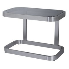Buy Allan Copley Designs James 28x16 Rectangular End Table w/ Smoked Grey Glass Top and Brushed Stainless Steel Frame on sale online