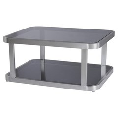Buy Allan Copley Designs James 40x30 Rectangular Cocktail Table w/ Smoked Grey Glass Top and Shelf on sale online