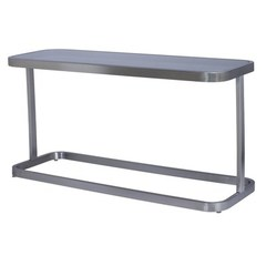 Buy Allan Copley Designs James 58x20 Rectangular Console Table w/ Smoked Grey Glass Top and Brushed Stainless Steel Frame on sale online