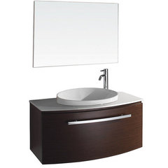 Buy Wyndham Collection Allura 39.5 Inch White Stone Top Single Sink Vanity Set in Ironwood on sale online