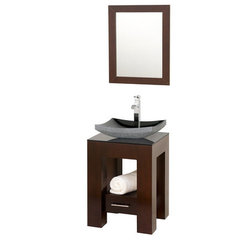 Buy Wyndham Collection Amanda 22.25 Inch Smoke Glass Top Single Sink Vanity Set on sale online