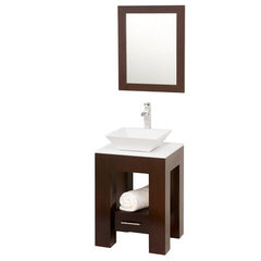 Buy Wyndham Collection Amanda 22.25 Inch White Stone Top Single Sink Vanity Set on sale online