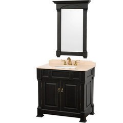 Buy Wyndham Collection Andover 36 Inch Ivory Marble Top Single Sink Vanity Set in Black on sale online