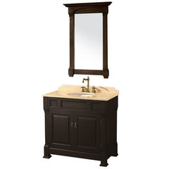 Buy Wyndham Collection Andover 36 Inch Ivory Marble Top Single Sink Vanity Set in Dark Cherry on sale online