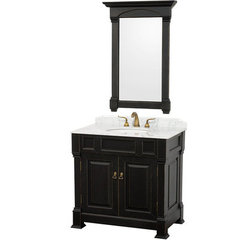Buy Wyndham Collection Andover 36 Inch White Carrera Marble Top Single Sink Vanity Set in Black on sale online