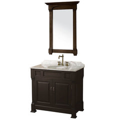 Buy Wyndham Collection Andover 36 Inch White Carrera Marble Top Single Sink Vanity Set in Dark Cherry on sale online