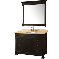 Buy Wyndham Collection Andover 48 Inch Ivory Marble Top Single Sink Vanity Set in Dark Cherry on sale online