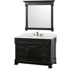 Buy Andover 48 Inch White Carrera Marble Top Single Sink Vanity Set in Black on sale online